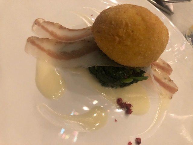chef antonello colonna, open colonna milano, cucina romana, Uovo fritto e guanciale